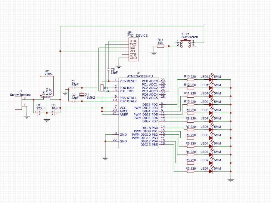 LED Chaser Circuit using Arduino