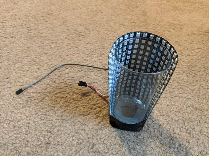 Cup with bent LED
