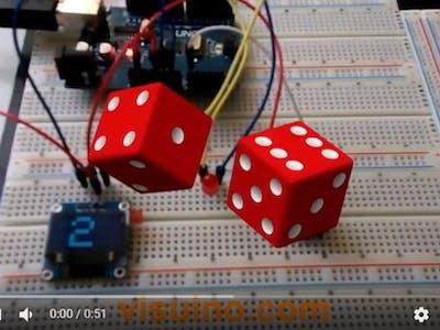 VISUINO Rolling Dice Using 0.96 Inch 4 Pin OLED Module