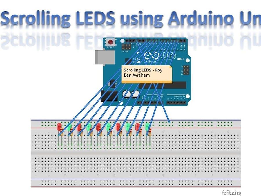 Scrolling LEDS (Chasing LEDS) using Arduino Uno
