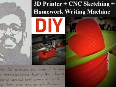 3D Printer+CNC Sketcher+Homework Writer+Sticker Cutter Combo