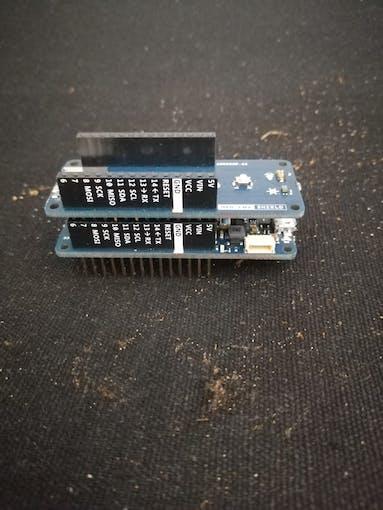 Plug the Arduino ENV Shield to the MKR 1010