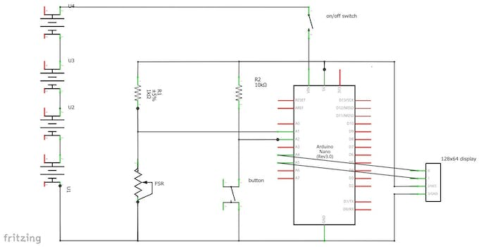 Circuit diagram of the tension meter with Arduino, FSR, display, button, on/off switch and power supply