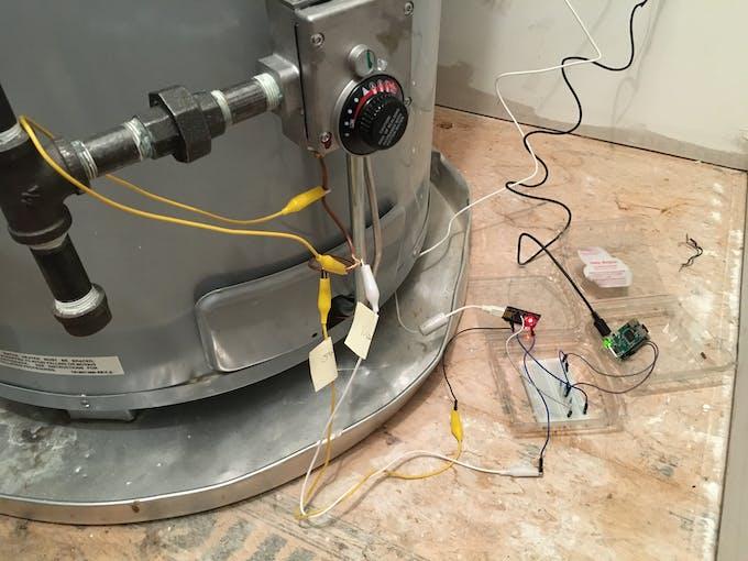 Hot Water Heater => Arduino => Voltage Divider => Raspberry Pi