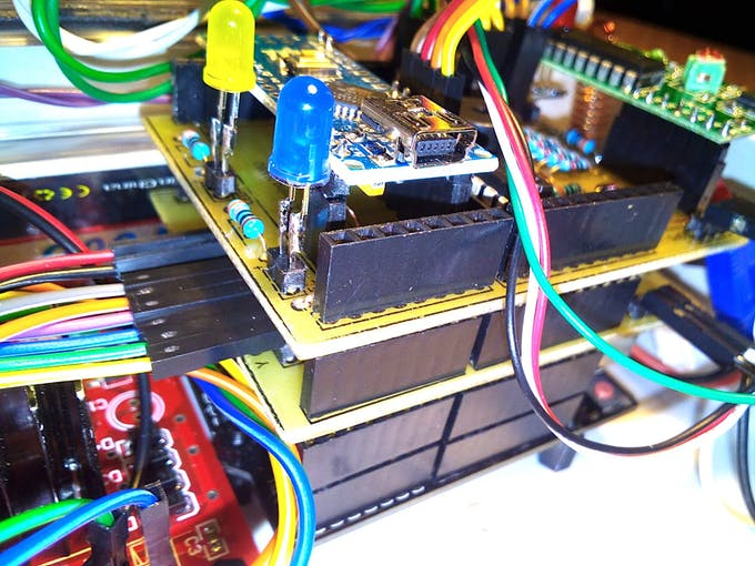 Arduino UNO and the boards stack.