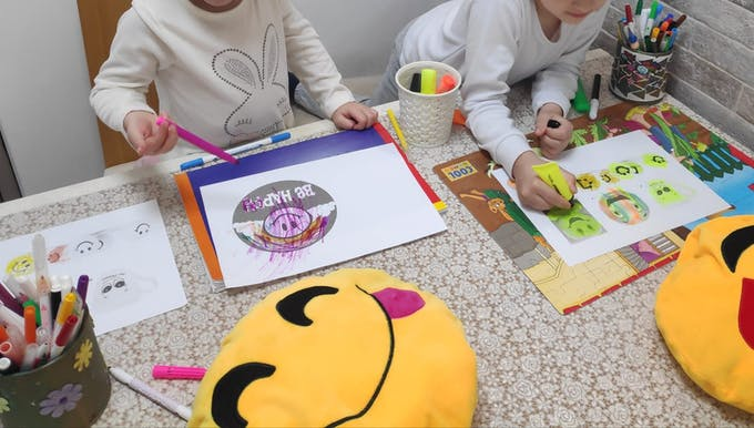 Dad, Mom, Just give us some smiley faces to draw and paint...