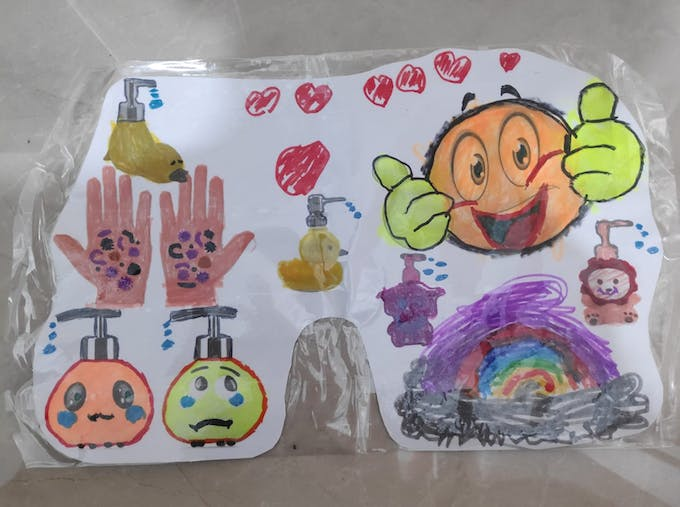 """""""Sad"""" un-washed hands side (Left) to """"Happy"""" big like side (Right)"""