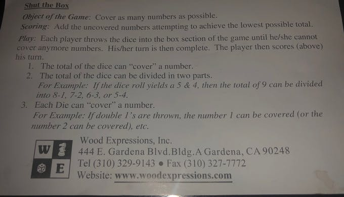 SHUT THE BOX - GAME RULES