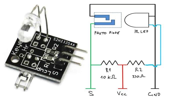 The KY-039 heartbeat sensor schema