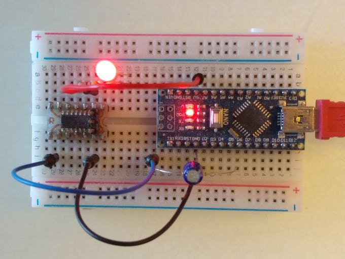 Blink example wired up on a breadboard