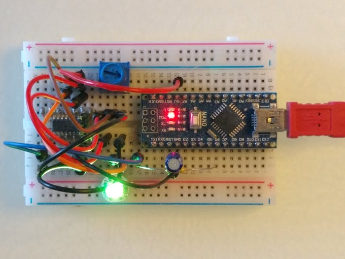 Color changer wired on breadboard