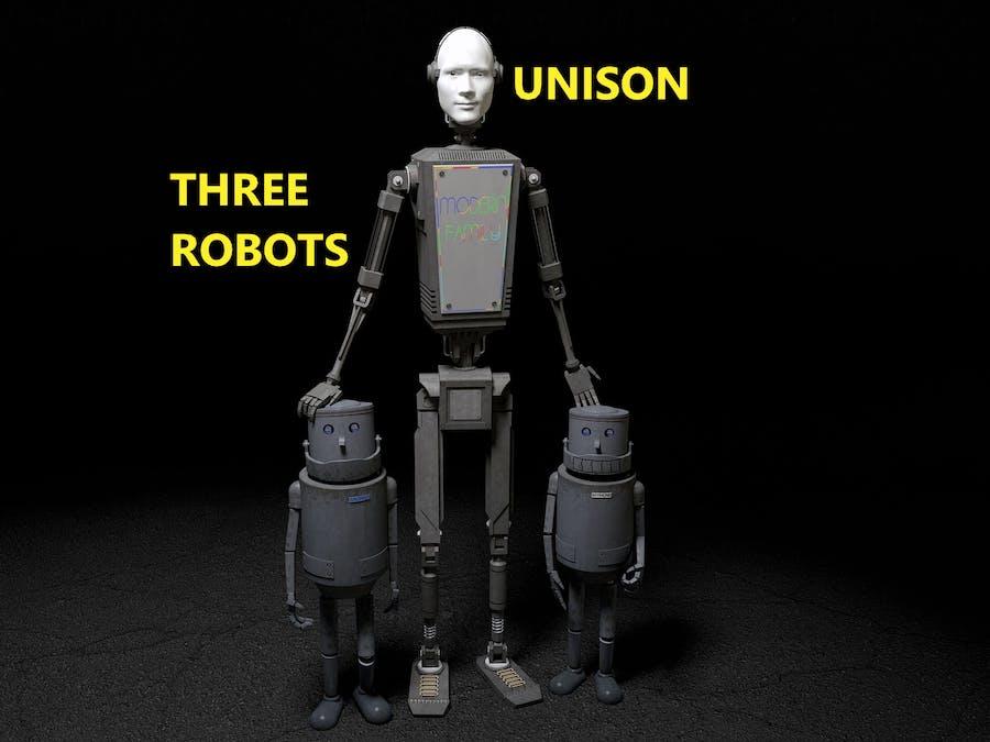 Three robotic bat cars in unison