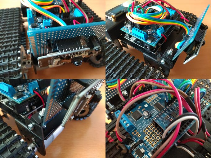 ESP32-CAM add-on board and IMU MPU9250 close up