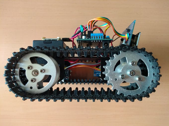 ESP32 Crawler with camera at the front and CAN transceivers below the chassis