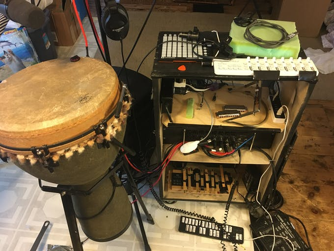 Djembe, Covid Box (without laptop), and temporary horrible midi pedal
