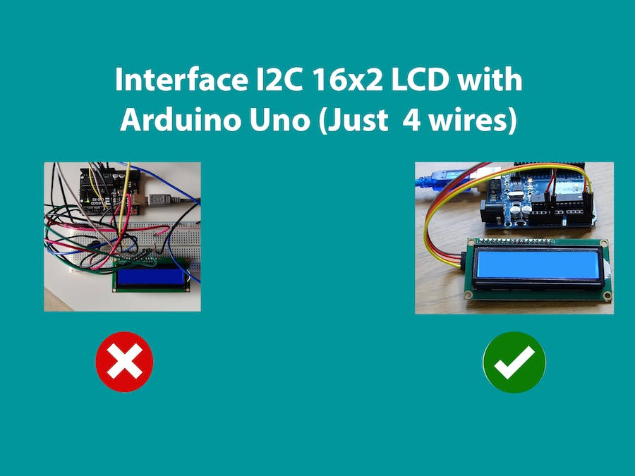 Interface I2C 16x2 LCD with Arduino Uno (Just 4 wires)
