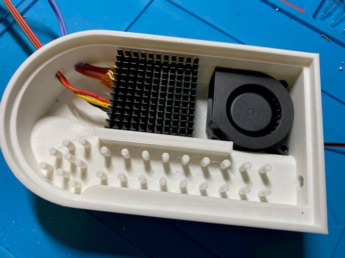 Prototype assembly - with PTC heater-heatsink-DS18B20 sensor