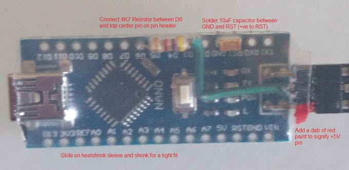 Adding the resistor, capacitor and heat-shrink cover