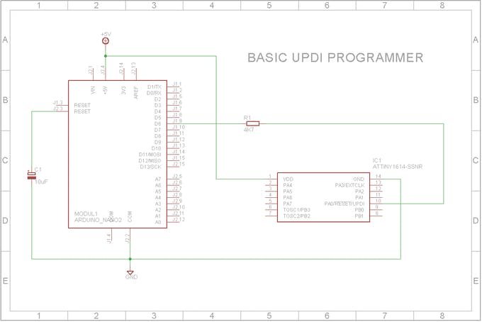 The UPDI programmer showing all its parts and how it is connected to a ATtiny1614