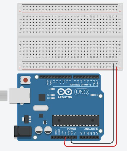 The basic Breadboard design that is the beginning of almost any Arduino Project