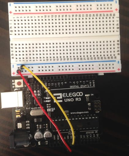 How it looks like on my Elegoo Arduino (Note - Colors of wires don't matter)