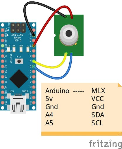 Wiring Connection Arduino and MLX90614