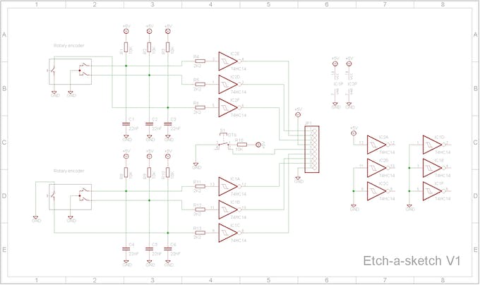 Simple RC -networks and Schmitt triggers for the rotary encoders