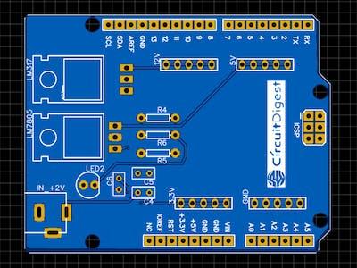 DIY Arduino Power Supply Shield with 3.3v, 5v and 12v Output