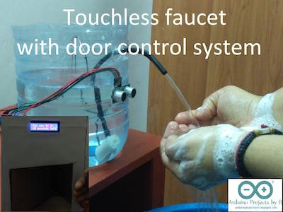 Touchless faucet with door control system for COVID-19