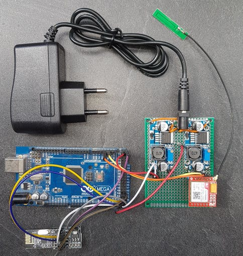 Prototyping version of IoT module with Arduino Mega for measuring secondary water storage tank