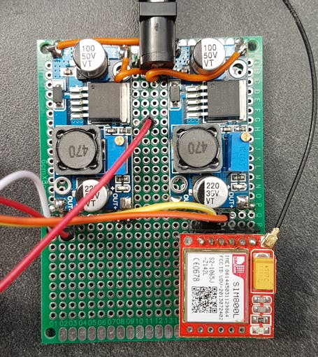 SIM800L GSM module used for communication with Igrow server