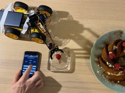 Car with a Robotic Arm and a Web-Based Remote Control