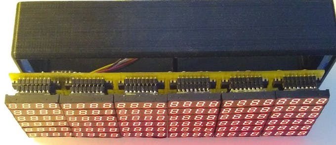 The MAX7219 motherboard with its column modules slide in from the front
