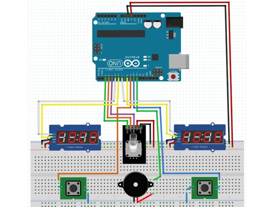 Chess alarm clock using Arduino, rotary encoder, 7 segment