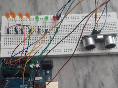 Find Distance with LEDs and Ultrasonic sensor