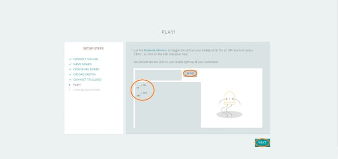 Step 9 - You can test the board connectivity by typing On and Off, when you have finished click Next