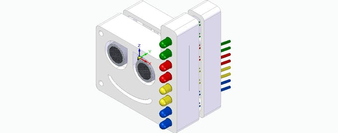 Figure 12- Teaching case used for the ultrasonic sensor, resistors and LEDs.