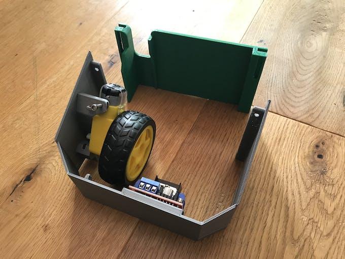 First prototype door mover, green part to be sticked on the door