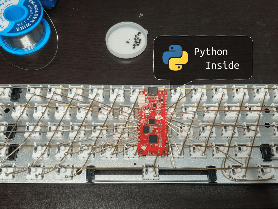 A Hand-wired USB and Bluetooth Keyboard Powered by Python