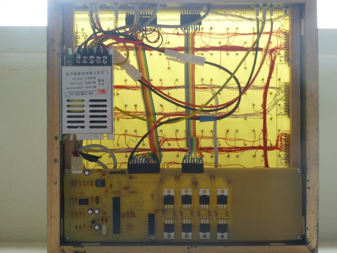 The DM13A chips are wired to the LED columns using wire-wrap wire