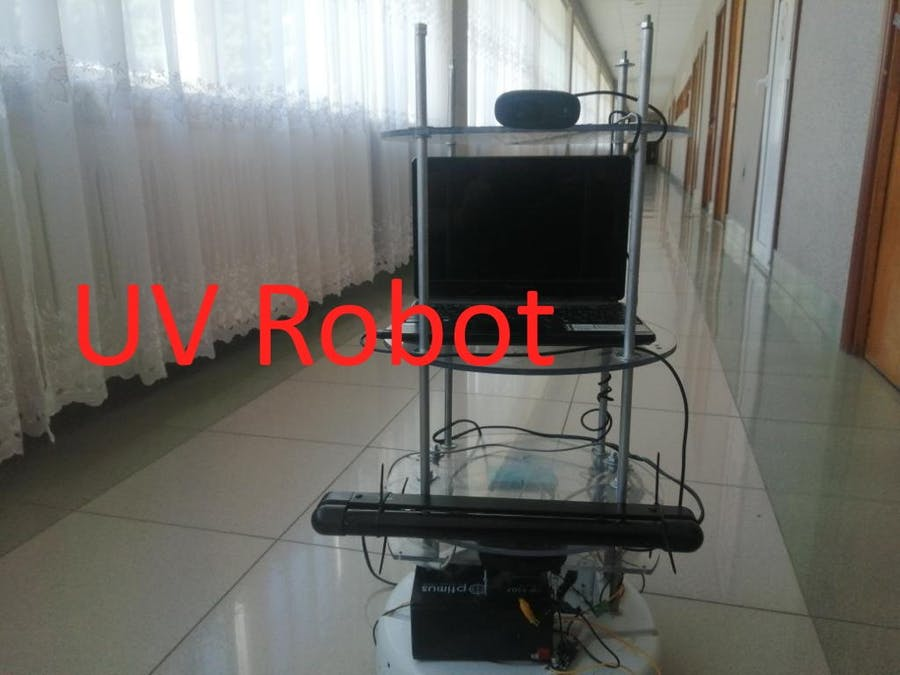 Robot for remote processing of premises using a UV lamp, v1