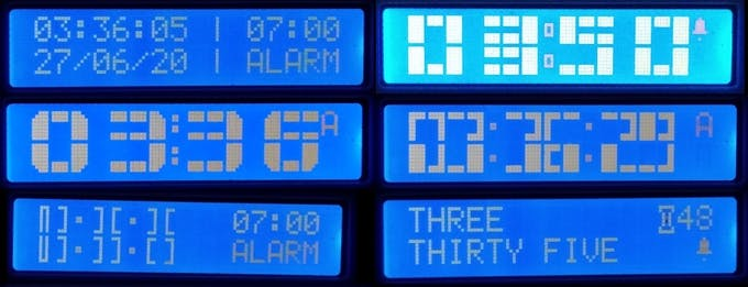 The various clock styles - All shown with alarm on