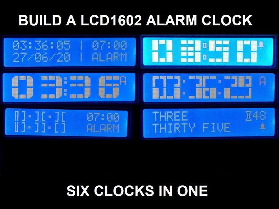 LCD Alarm Clock with many faces