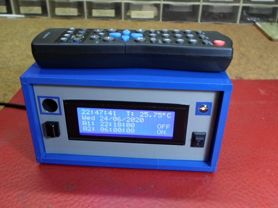 LCD Alarm Clock and Thermometer Controlled by IR Remote