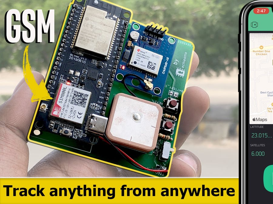 GSM/GPRS based GPS Tracker using Blynk with Calling & SMS fe