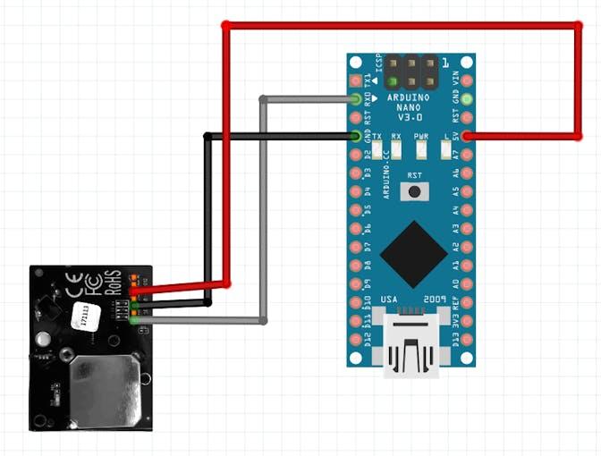 Connection of SDS018 sensor to Arduino Nano