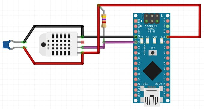 Connection of DHT22 sensor to Arduino Nano