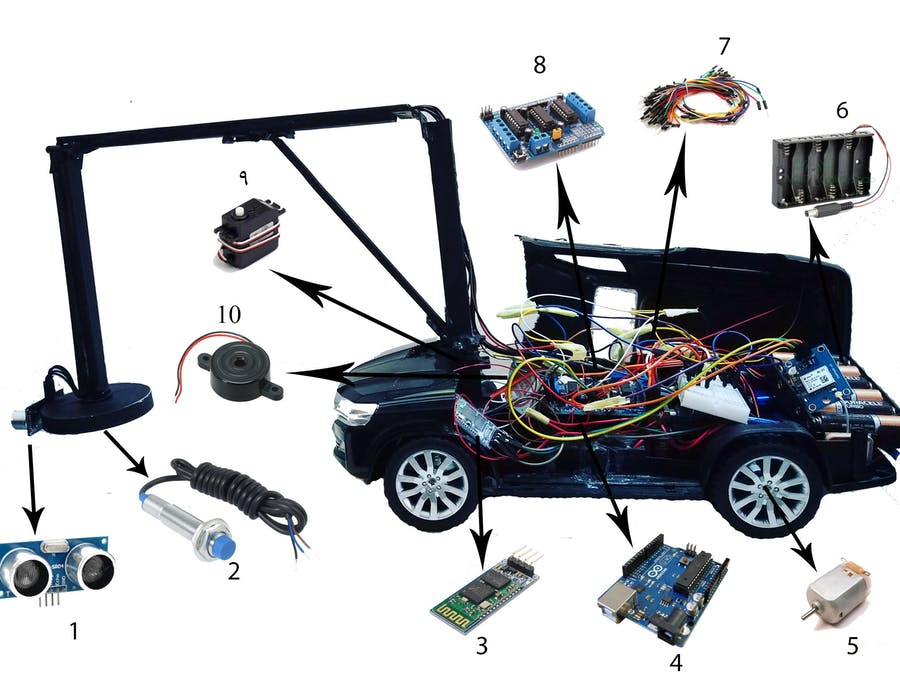 Smartphone Controlled Arduino 2WD Robot Car to detect mine b