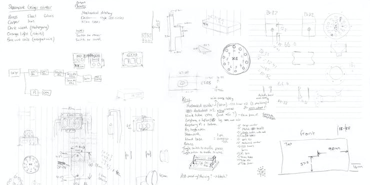 Notes don't survive well in a machine shop, but these are what's left of my original sketches.