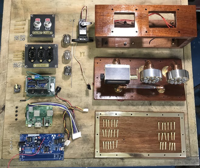 All the parts for the project laid out ready for final assembly.